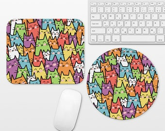 Cat Mouse Pad Round or Rectangle, Fun Mouse Pad Cat Mousepad Colorful Mouse Pad Animal Mouse Pad Cute Mouse Pad, Mouse Mat, Desk Decor