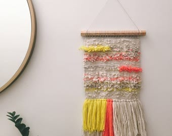 Woven wall hanging - Yellow, pink, and cream woven wall hanging