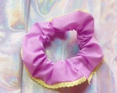 Lilac Handmade Elasticated Scrunchie with Yellow Lace Trim Detail