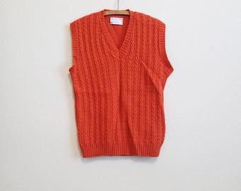 Orange Wool Vest Medium - Lord Jeff - 100% Virgin Wool