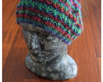 Red and green hat - womens slouchy hat - beanie hat - gift for her - handcrafted manmade yarn - under 50 gift - christmas gift for adults