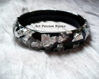 Silver metal leaf, resin bangle, silver leaf effect, ancient greek jewelry, ecological resin, greek bracelet, 15% off ship, made in Italy