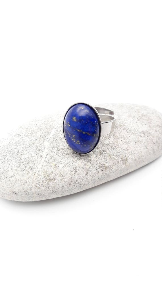 Lapis Lazuli ring silver steel adjustable hypoallergenic//Blue lapis lazuli steel ring//Oval cabochon 18x13 mm silver surgical steel ring