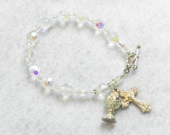 First Holy Communion Catholic Rosary Bracelet Crucifix Chalice Charm Glass Bead Bracelet Catholic Kids Jewelry First Communion
