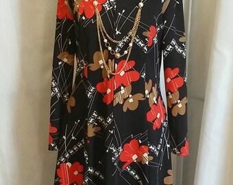 Vintage day dress 70s secretary dress black/red/brown/white dress abstract print dress size 15/16
