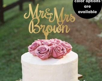 Custom Wedding Cake Topper, Last name cake topper, Personalized Cake Toppers, Mr and Mrs Cake Topper, Gold, Glitter, Silver CT-008
