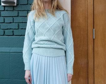 Vintage 1970s Powder Blue Pleated Midi Skirt NOS S