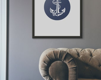 Anchor Art print, Anchor Wall Art Printable, Blue Anchor, Ready to Print Artwork, Round Blue Anchor Instant Download,Nautical Bathroom Print