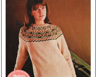 1960's Women's Fair Isle Sweater Knitting Pattern - PDF Instant Download
