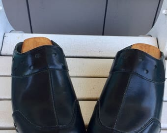 Black Leather Bastad / Troentorps / Wooden Clogs / Wooden Mules /made in Bastad, Sweden /  Euro Size 44, US Size 10.5 TO 11