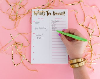 Meal Planning Notepad, What's for dinner notepad, Magnetic list pad, Meal Planner, Grocery List, Stocking Stuffer, To do List, NP-01