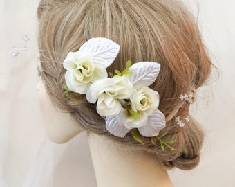 Flower headpiece, Ivory flower headpiece, bridal headpiece, headdress, wedding headpiece,