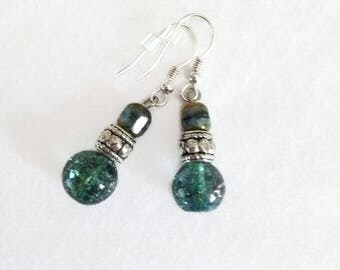 Turquoise Earrings, Crystal Earrings, Czech Glass Earrings, Sparkly Earrings, Blue Green Earrings, StrandzJewelry