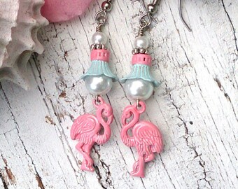Pink Flamingo Earrings, Beach Jewelry, Bird earrings, PaTiNA EaRRings, Pink and Mint