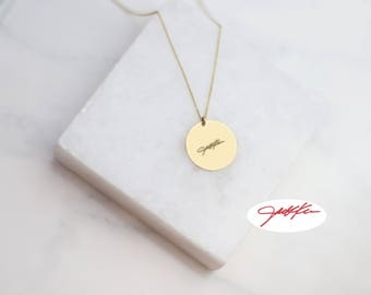 Gold Handwriting Signature Disc Necklace // Keepsake Jewelry // Actual Handwriting Necklace // Personalized Jewelry