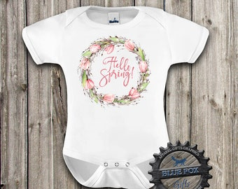 Spring Baby Clothes, Hello Spring, Floral baby bodysuit, Cute baby clothes, Girl bodysuit, Baby Shower Gift, Spring kids clothes, DGK_003