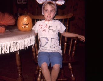 Vintage Kodachrome Photo Slide Little Girl Rat Fink Costume Carved Pumpkin Halloween 1960's, Original Found Photo, Vernacular Photography