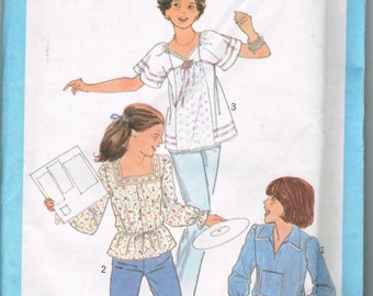 Simplicity 8212 Size 5/6 Young Junior Girls  70s Tops