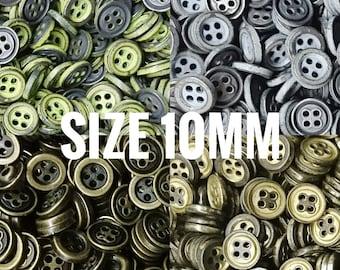 12 pcs, 10mm metal button, 4 holes, 16L