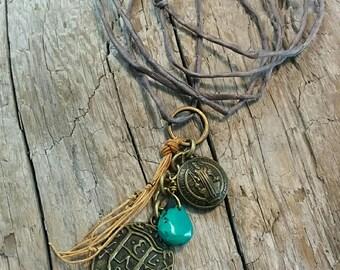 Handmade Boho Medallion Pendant with Turquoise