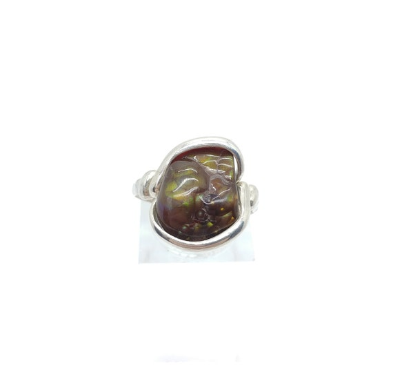 Rare Gemstone Ring | Fire Agate Ring | Handmade Sterling Silver Ring Sz 6 | Mexican Fire Agate Ring | Fire Agate Jewelry | Green Stone Ring