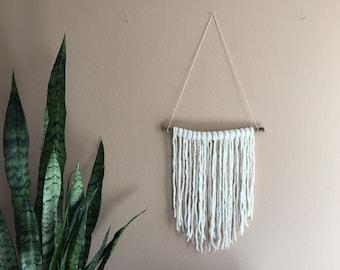 Driftwood Macrame Hanging Wall Tapestry / Driftwood tassels / white wall decor /boho wall hanging /bohemian /simple wall decor /boho nursery