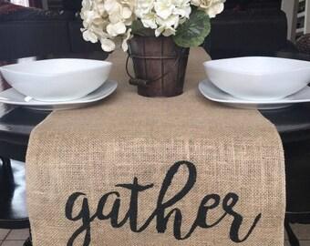 Gather Table Runner, Burlap Table Runner, Table Runner,
