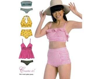 Swimsuit Tops and Bottoms to Mix or Match, Women's Swimwear Sewing Pattern, Bikini-Halter-Strapless, Size 6-8-10-12-14 Uncut McCall's M7168