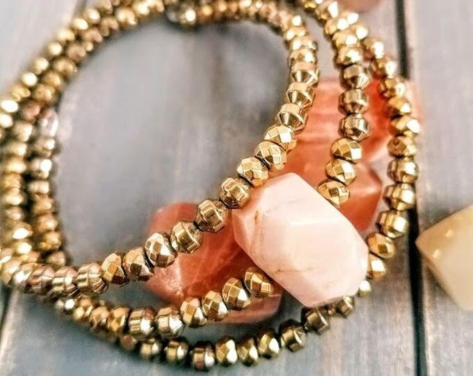Moonstone hematite beaded bracelet