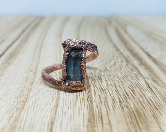 Raw Blue Tourmaline Ring - Size 7 / Electroformed rough Stone / Boho Gypsy Witchy Birthday Gift for Women / rough crystal healing ring A7