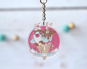 Kawaii Sweet Tooth Ice Cream Shark Acrylic Charm Keychain