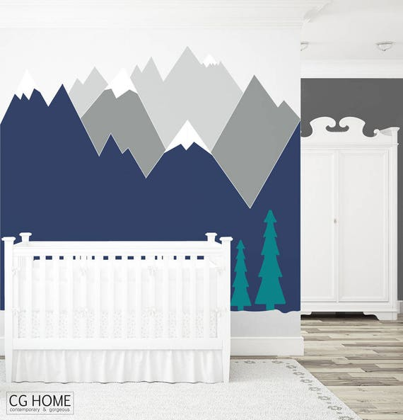 Mountains Wall Decal Nursery Wall Art Headboard Wall Protection Kids Toddlers Baby Room Decor Corner Wall Sticker Self Adhesive Woodland