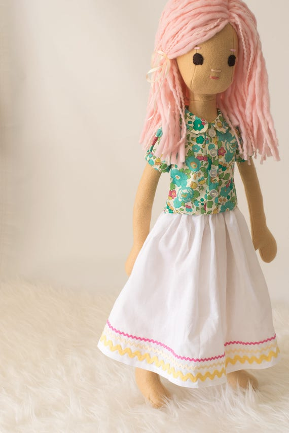 Cloth Doll with Pink Hair and Wardrobe