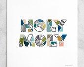 Holy Moly Print - Watercolor, White & Blue, Geometric, Giclée / 8x8, 10x10