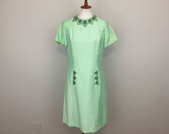 60s Raw Silk Dress Beads Shift Dress Midi Holiday Christmas Jackie Kennedy Jackie O Mint Green Large 1960s Vintage Clothing Womens Clothing