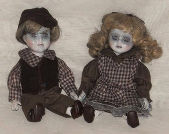 Boy and Girl GHOST DOLLs Victorian ghost doll children Dead Boy & Girl doll