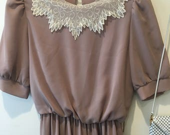 Dusty pink with lacy neckline dress