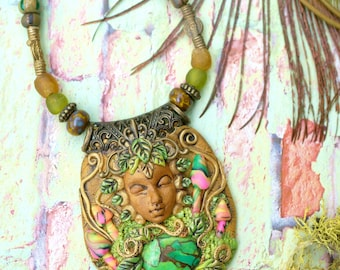 Mushroom Fairy Princess-Goddess Pendant fairy jewelry spiritual healing gemstone crystal healing unique mushroom necklace gift for her ooak