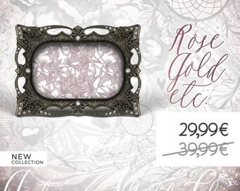 Metal Photo Frame, Gemstones Picture Frame, Antique Black Jewel Frame, Nuptials, Marriage, Fancy Gems Wedding, Baptism, Baby Birth, Nursery