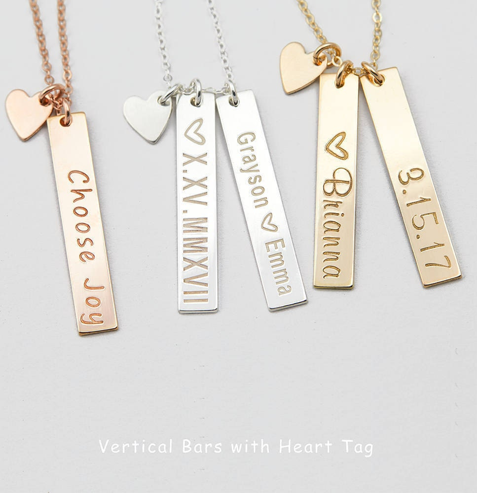 100 Personalized Small Tiny Gold Vertical