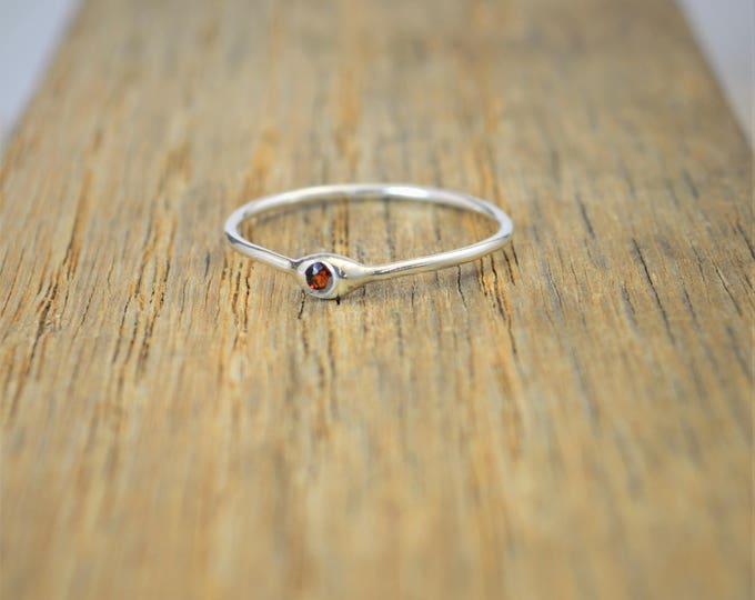 Dainty Silver Garnet Mothers Ring, Garnet Birthstone, Tiny Garnet Ring, Dew Drop Ring, Sterling Silver, Stacking Ring, January Birthday Gift