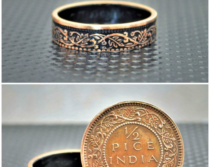 Black Wreath Coin Ring, India-British Coin, Black Ring, Coin Ring, Bronze Ring,Unique BoHo Ring,Dainty Ring,Womens Coin Ring,8th anniversary