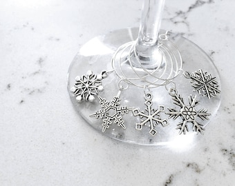 Set of 5 Antique Silver Snowflake Holiday Cocktail & Wine Glass Charms