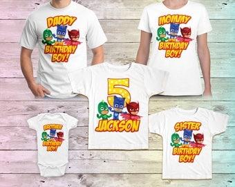 PJ Masks Birthday Shirt, PJ Masks Family Birthday Tshirt, Matching Shirts, PJ Masks Mommy Birthday Party, Daddy birthday tee