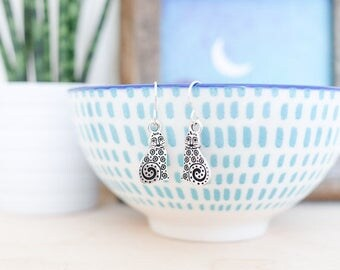 Silver Cat Earrings • Valentines jewellery gift present for wife girlfriend her, sterling silver, jewelry, kitty, crazy cat lady, pet charm