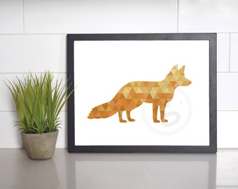 Fox Print, Geometric, Orange, Wall Decor, INSTANT DOWNLOAD