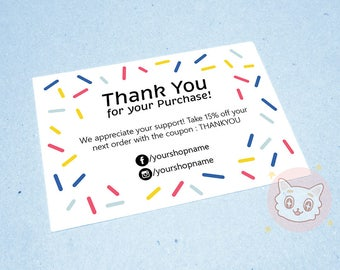 Printable Business Thank You Card Confetti - Printable Card - Card Template - Packaging - Etsy Marketing- Thank You Card