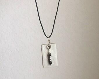 Ceramic Pendant and glass bead neacklace, shiny white, Soda Fired handmade