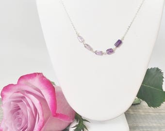 Amethyst Necklace - February Birthstone - Layered Necklace - Amethyst Jewelry - Sterling Silver - Purple Necklace - February Birthday Gift