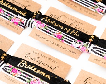 Will You Be My Bridesmaid Hair Tie Gift |  Black White + Gold Floral Hair Tie Bridesmaid Gift, Modern Bold Stripes, Maid of Honor Proposal
